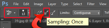 Adjusting the background eraser tool to sampling once