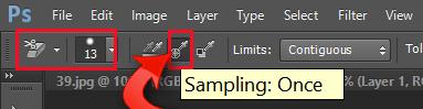 Adjusting the background eraser tool to sampling once